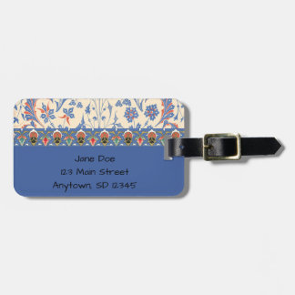 Blue Floral Design Luggage Tag
