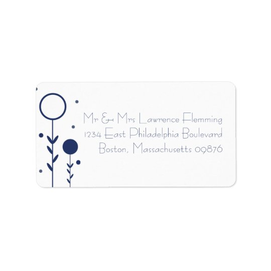 Blue Floral Dot RSVP Address Labels