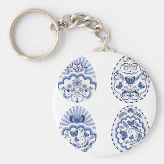 Blue Floral Easter Eggs2 Key Ring