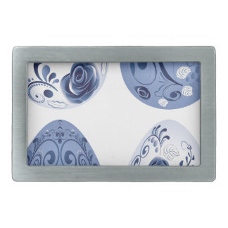 Blue Floral Easter Eggs Rectangular Belt Buckle