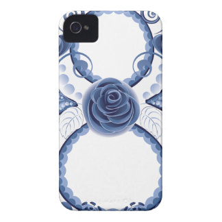 Blue Floral Eight2 iPhone 4 Cases