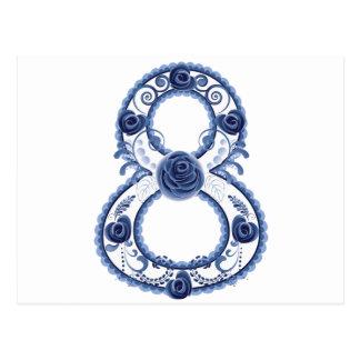 Blue Floral Eight2 Postcard