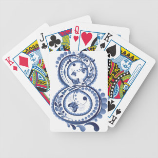 Blue Floral Eight3 Bicycle Playing Cards