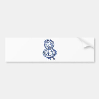 Blue Floral Eight3 Bumper Sticker