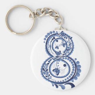 Blue Floral Eight3 Key Ring