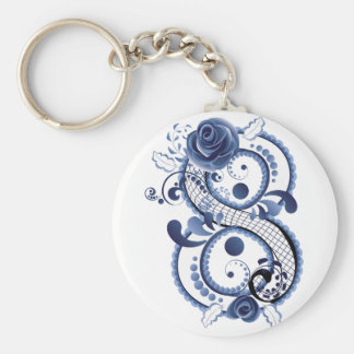 Blue Floral Eight Key Ring