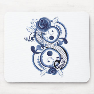 Blue Floral Eight Mouse Pad