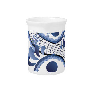 Blue Floral Eight Pitcher