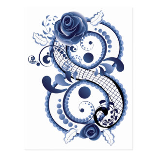 Blue Floral Eight Postcard