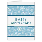 Blue Floral Employee Anniversary Card