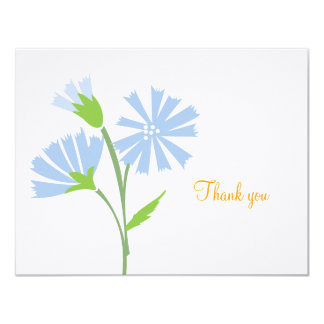 """Blue Floral Flat Thank You Note Card 4.25"""" X 5.5"""" Invitation Card"""