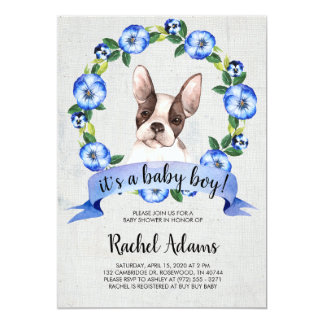 Blue Floral French Bull Dog Baby Shower Card
