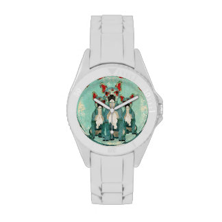 Blue Floral French Bulldogs Watch