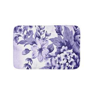 Blue Floral French Home Decor Bath Mat