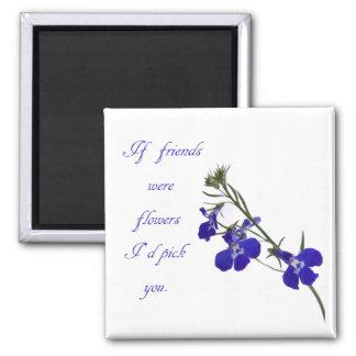 Blue Floral Friendship Magnet