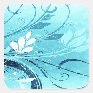 Blue Floral Grunge Square Sticker