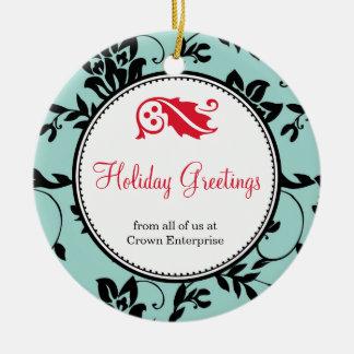 Blue floral holiday greeting custom business logo ceramic ornament