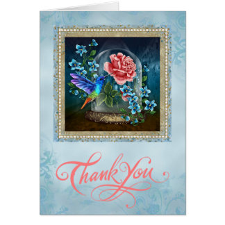 Blue Floral Hummingbird Thank You Card