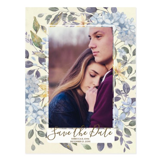 Blue floral hydrangea photo save the date postcard