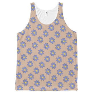 Blue Floral All-Over Print Tank Top