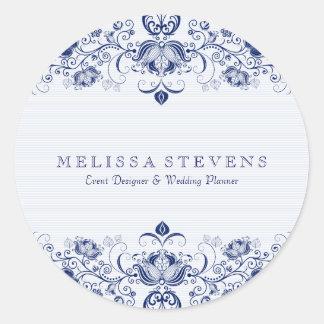 Blue Floral Lace White Background Round Sticker