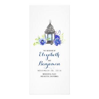 Blue Floral Lantern Wedding Programs Rack Card