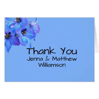 Blue Floral Larkspur Personalized Thank You Notes