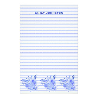 Blue Floral Lined Custom Stationery