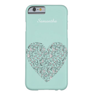 Blue Floral Love Heart iPhone 6/6s Case