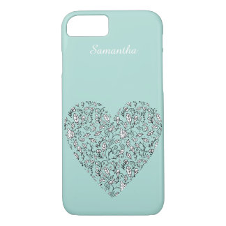 Blue Floral Love Heart iPhone 7 Case