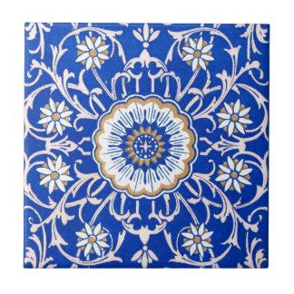 Blue Floral Mandala Pattern Small Square Tile