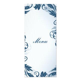 Blue Floral Matching Menu 10 Cm X 24 Cm Invitation Card