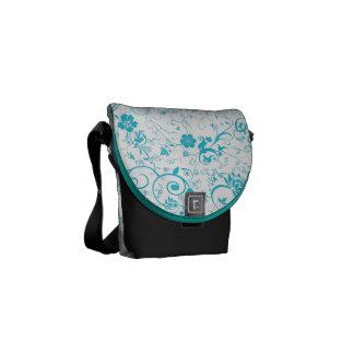 Blue Floral Courier Bag