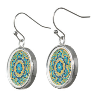 Blue Floral Mexican Tile Earrings