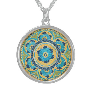 Blue Floral Mexican Tile Sterling Silver Necklace