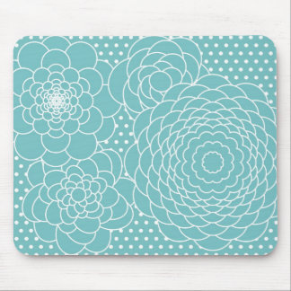 Blue Floral Modern Abstract Flowers Mouse Pad
