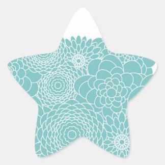 Blue Floral Modern Abstract Flowers Star Sticker