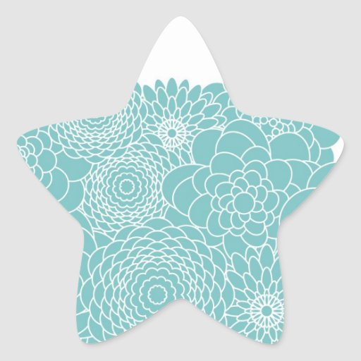 Blue Floral Modern Abstract Flowers Star Sticker