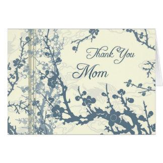 Blue Floral Mom Wedding Day Thank You Card