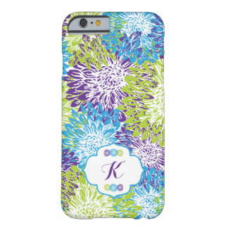 Blue Floral Monogram Barely There iPhone 6 Case