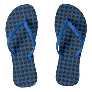 Blue Floral Motif on Thongs