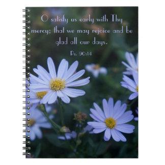 Blue Floral Notebook with KJV Scripture