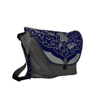 Blue Floral oriental  Antique Design Messenger Bag