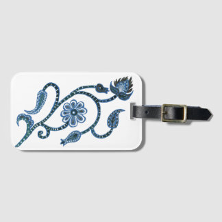 Blue Floral Paisley Luggage Tag