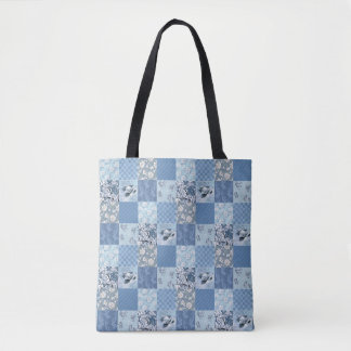 Blue Floral Patchwork All-Over-Print Tote Bag