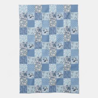 Blue Floral Patchwork Kitchen Towel