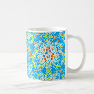Blue Floral Pattern Coffee Mug