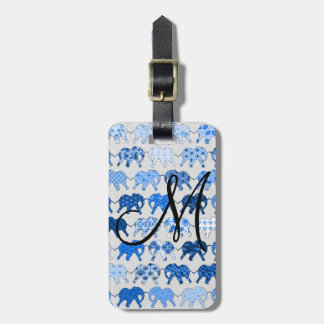 Blue Floral Pattern Elephants Monogram Luggage Tag