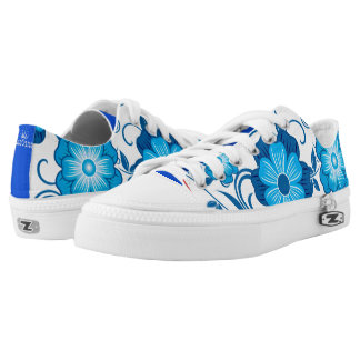 Blue Floral Pattern Low Tops