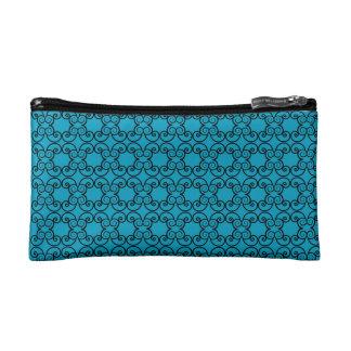 Blue Floral Pattern Makeup Bag